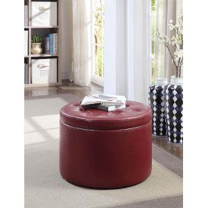Designs 4 Comfort Burgundy 22-Inch Round Shoe Ottoman