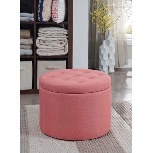 Designs 4 Comfort Coral Faux Linen 22-Inch Round Shoe Ottoman