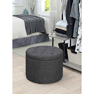 Designs4Comfort Dark Gray Round Shoe Ottoman