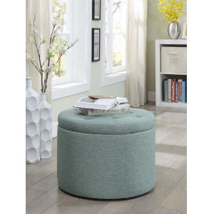 Designs 4 Comfort Green Faux Linen 22-Inch Round Shoe Ottoman