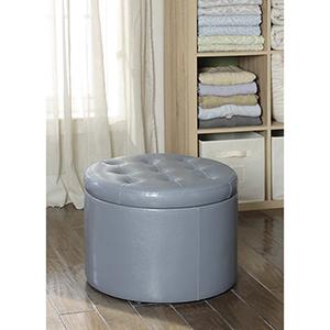 Designs4Comfort Light Gray Round Shoe Ottoman