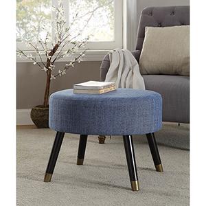 Designs4Comfort Blue Mid Century Ottoman Stool