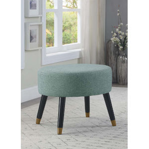 Designs4Comfort Green Faux Linen 17-Inch Ottoman Stool