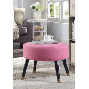 Designs4Comfort Pink Faux Suede 17-Inch Ottoman Stool