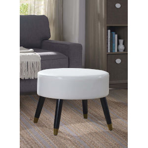 Designs4Comfort White Faux Leather 17-Inch Ottoman Stool