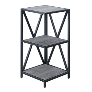Tucson Weathered Gray and Black 13-Inch Three Tier Corner Bookcase