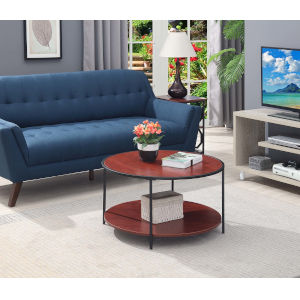 Tucson Cherry and Black 33-Inch Round Coffee Table