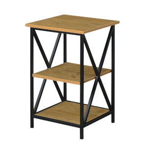 Tucson English Oak and Black Three-Tier End Table