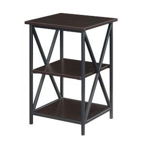 Tucson Espresso Black End Table with Shelves