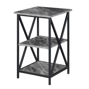 Tucson Gray Faux Marble Black End Table with Shelves
