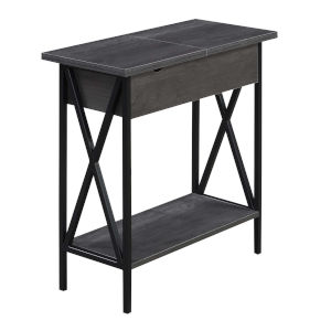 Tucson Charcoal Gray and Black Flip Top End Table with Charging Station
