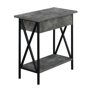 Tucson Cement and Black Flip Top End Table with Charging Station