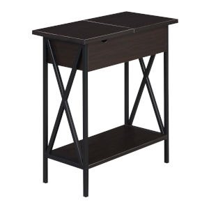 Tucson Espresso Flip Top End Table with Charging Station
