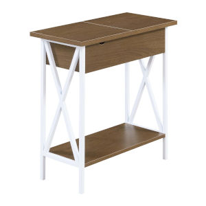 Tucson Driftwood and White Flip Top End Table with Charging Station