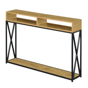 Tucson English Oak and Black Two Tier Console Table
