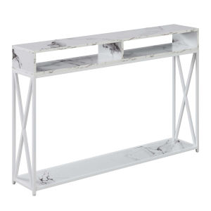 Tucson White Faux Marble Deluxe Console Table with Shelf