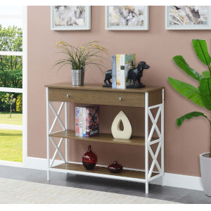 Tucson Driftwood and White Single Drawer Console Table