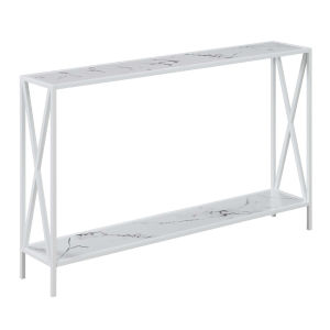 Tucson White Faux Marble Console Table with Shelf