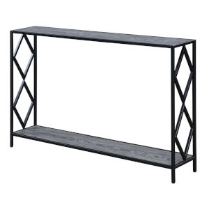 Diamond Weathered Gray Black Metal Console Table