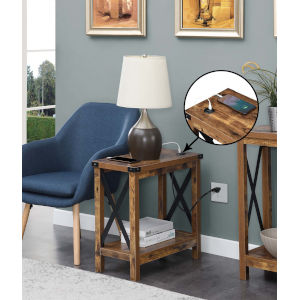 Durango Barnwood Black Accent Chairside Table with Charging Station