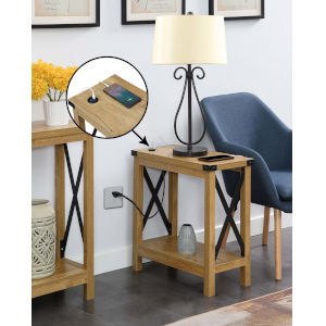 Durango English Oak Black Accent Chairside Table with Charging Station