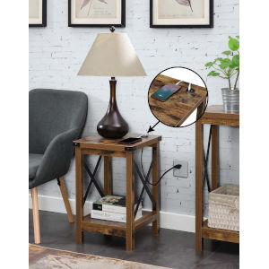 Durango Barnwood Black Accent End Table with Charging Station