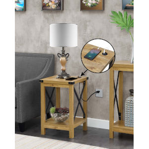 Durango English Oak Black Accent End Table with Charging Station
