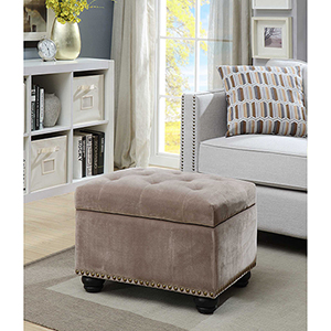 Designs4Comfort Velvet Taupe 5th Avenue Storage Ottoman