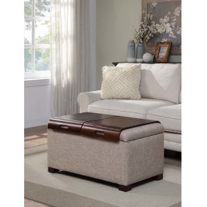 Designs4Comfort Tan Faux Linen 20-Inch Storage Ottoman with Tray