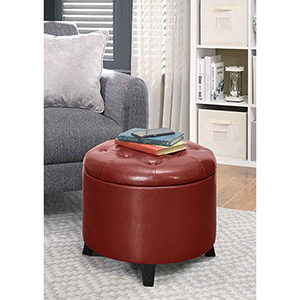 Designs4Comfort Burgundy Faux Leather Round Ottoman