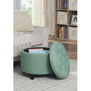 Designs4Comfort Green Faux Linen 20-Inch Round Ottoman