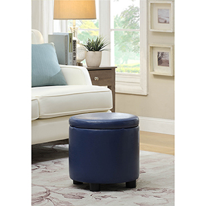 Designs4Comfort Blue Round Accent Storage Ottoman
