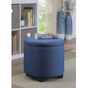 Designs4Comfort Blue Faux Linen 16-Inch Storage Ottoman