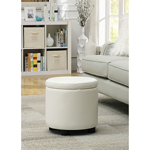 Designs4Comfort White Round Accent Storage Ottoman