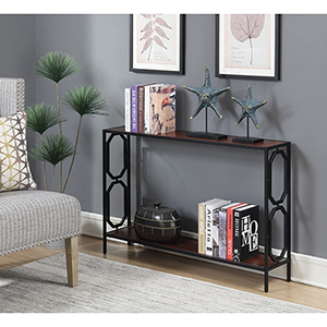 Omega Cherry and Black Metal Frame Console Table