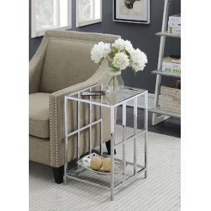 Mission Clear Glass and Chrome 16-Inch End Table
