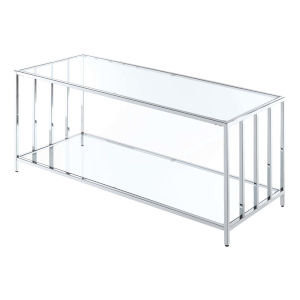 Mission Chrome Metal Coffee Table with Clear Glass