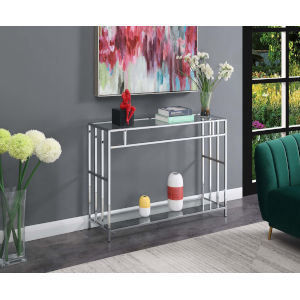 Mission Clear Glass and Chrome 12-Inch Console Table