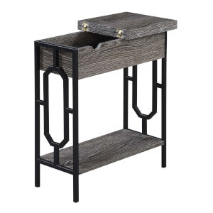 Omega Weathered Gray and Black Flip Top End Table with Charging Station