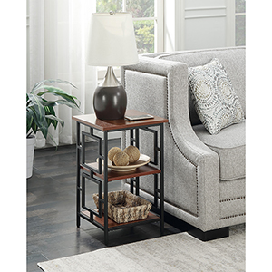 Town Square Cherry and Black Metal Frame End Table
