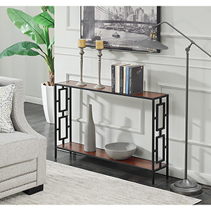 Town Square Cherry and Black Metal Frame Console Table