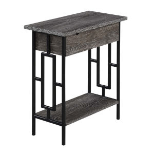 Town Square Weathered Gray and Black Flip Top End Table with Charging Station