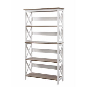 Oxford Driftwood White MDF Five-Tier Book Case