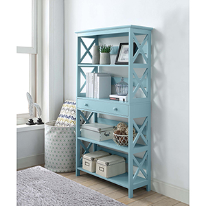 Oxford Sea Foam Five Tier Bookcase with Drawer