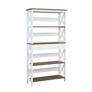 Oxford Driftwood White Five-Tier Bookcase with Drawer