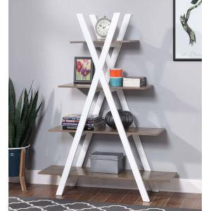Oxford Driftwood and White A-Shaped Frame Bookshelf