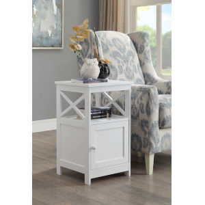 Oxford White End Table with Cabinet