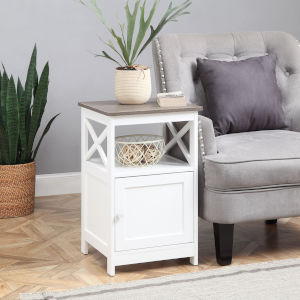 Oxford Driftwood and White End Table with Cabinet