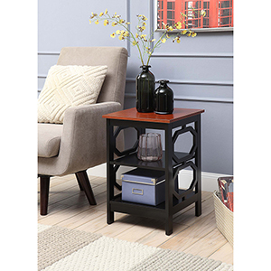 Omega Cherry Top End Table with Black Frame