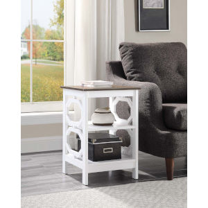 Omega Driftwood and White 16-Inch End Table
